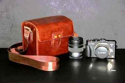 Coffee leather case bag for Canon EOS M3 camera with EF-M 18-55mm & 22mm 2 lens