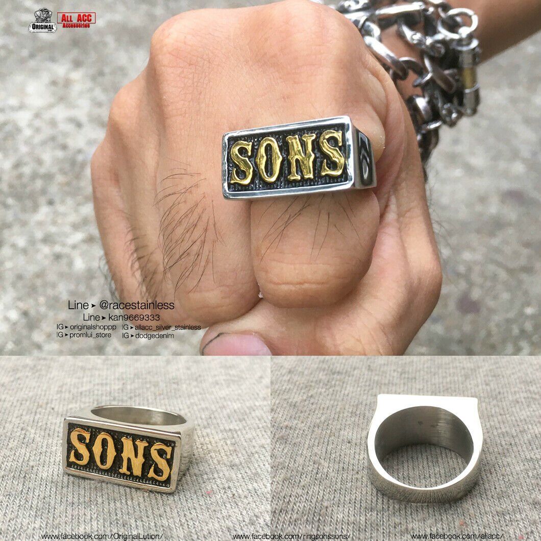 Ring sons Sons of anarchy Gold Jax teller Samcro Sz7-12 Stainless ( Genuine )