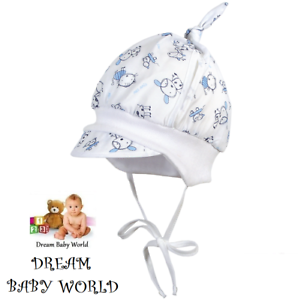 RICH 100/% Cotton spring summer Baby boys sun HAT 0-18 months TIE UP Cap BOY