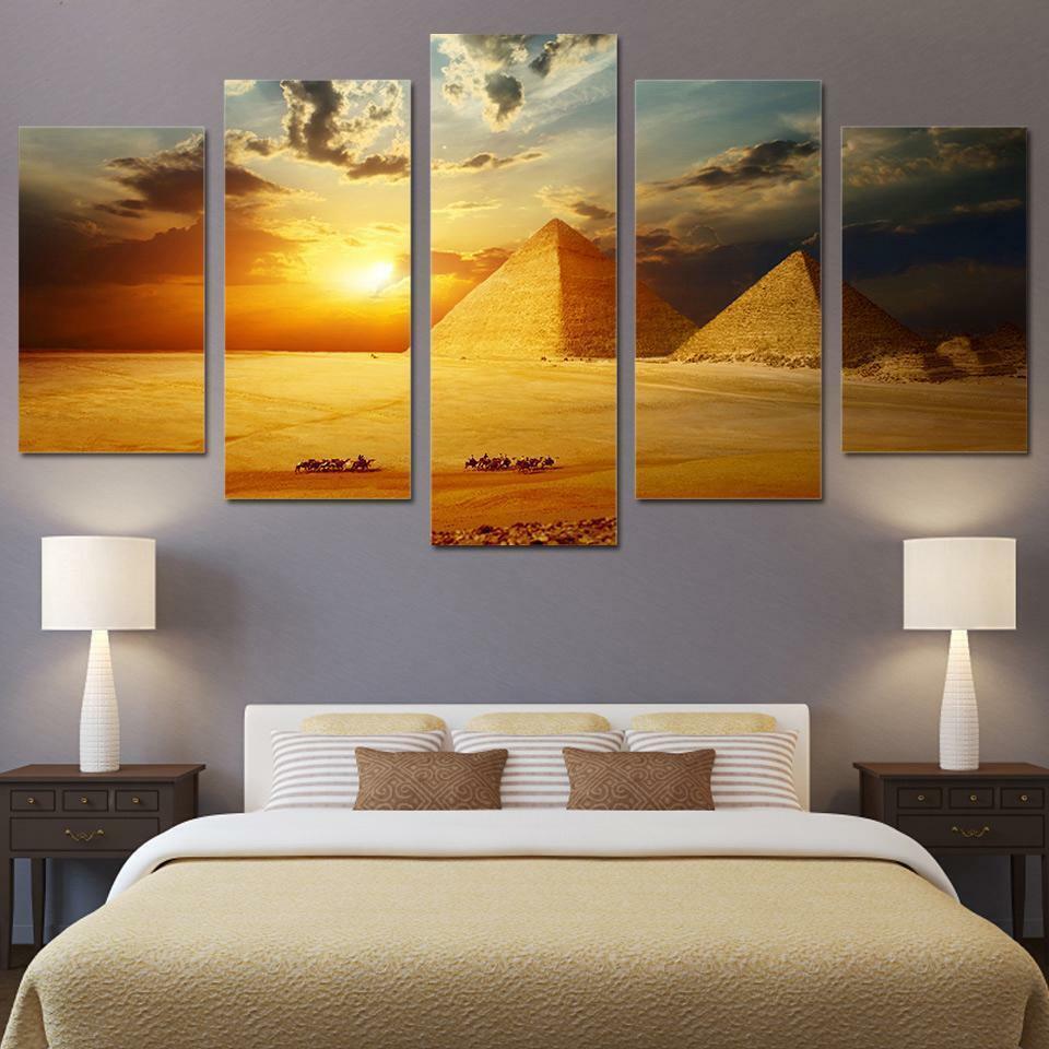 Egyptian Pyramids Sunset 5 panel canvas Wall Art Home Decor Poster Print