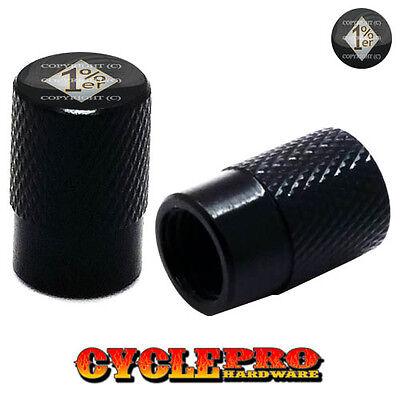 2 Black Billet Aluminum Knurled Tire Valve Caps 1/% Percent WRSB
