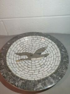 Vtg-Mosaic-Stone-Dish-Plate-Large-Bird-Design-Denmark-Heide-Mosaic-11-5-034
