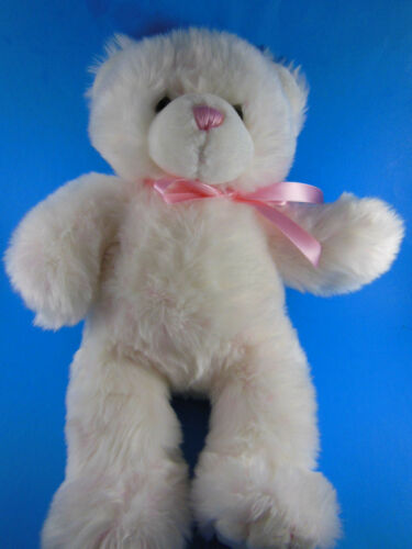 "Build-A-Bear Pink & White Plush Teddy Bear 16"" Very soft snuggly"