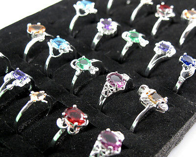 Wholesale 10PCS Mixed Women Jewelry 925 Sterling Silver Crystal Rings 6-9 #