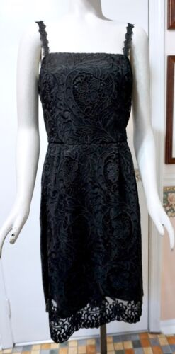 NWT $200 White House Black Market Sleeveless Black Lace Fit /& Flare Dress
