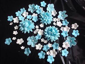 Tortenaufleger zuckerblumen hochzeit muffins fondant tortendeko kuchendeko blau ebay - Kuchendeko foto ...