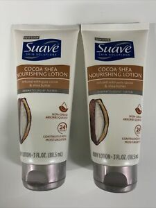 Pak Of 2)Suave Skin Solutions Smoothing Cocoa Butter & Shea Body Lotion 3 Fl.Oz