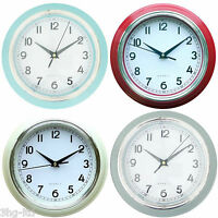 """Modern 9"""" Quartz Wall Clock Blue Red Cream Grey Home Office Large Dial New"""