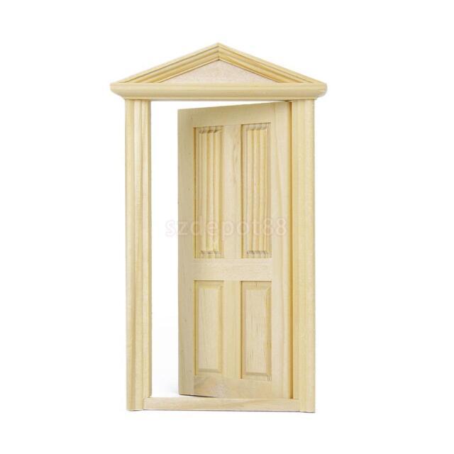 1:12 Dollhouse Miniature Wooden 4 Panel Exterior Door Frame Unpainted DIY