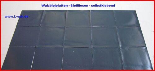 10 Walzblei-Fliesen Platten 11,0 x 11,0 cm x 1,0 mm selbstklebend 1,4 kg Schall