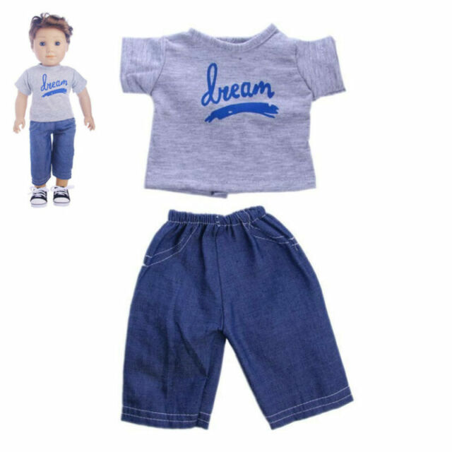 """Cute Gray T-shirt Jeans Pants For 18"""" American Girl Doll Boy Logan Clothes"""