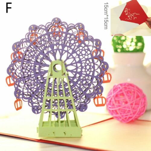 Folding Origami Happy Birthday 3D Greeting Cards Ferris Wheel Handmade Pop Up