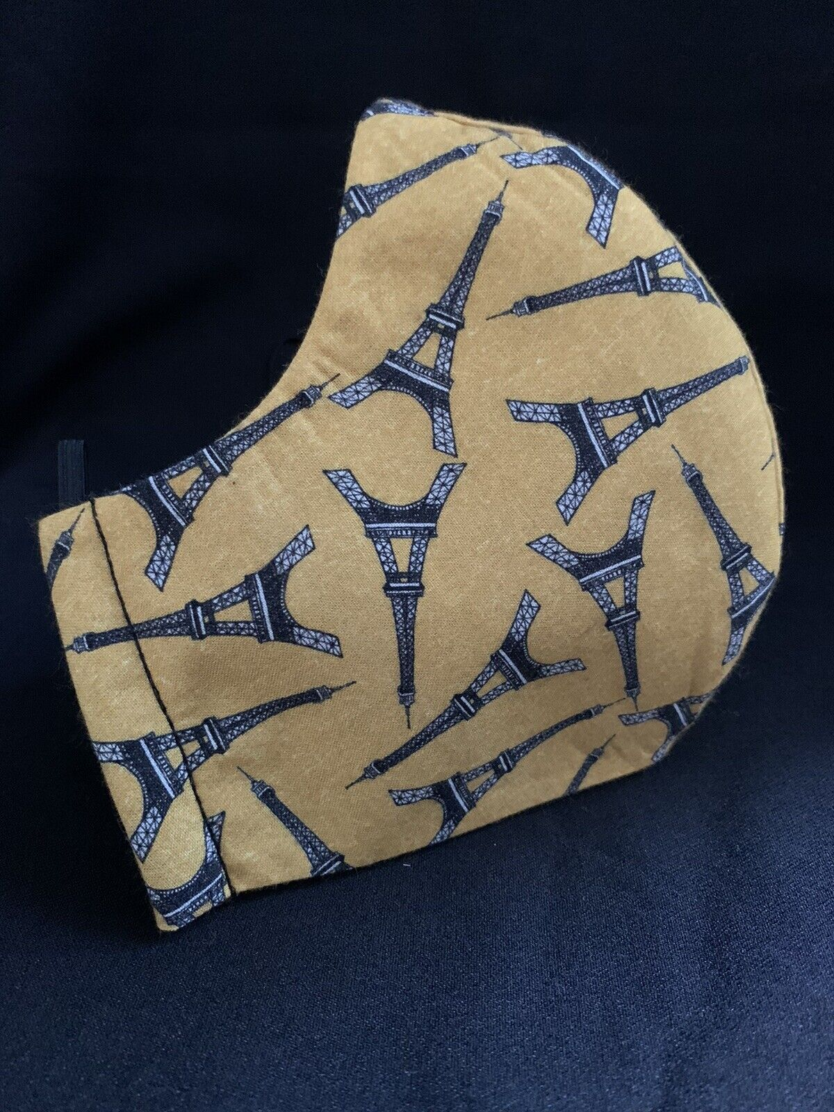 Face Mask -Handmade -Funky - Fashionable-Eiffel Tower- Mustard -Cotton- Unisex