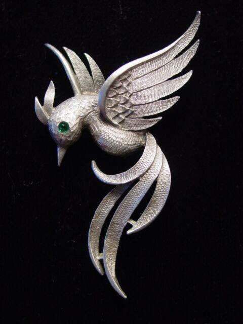 """JJ"" Jonette Jewelry Silver Pewter Winged Long Tailed Bird Pin"