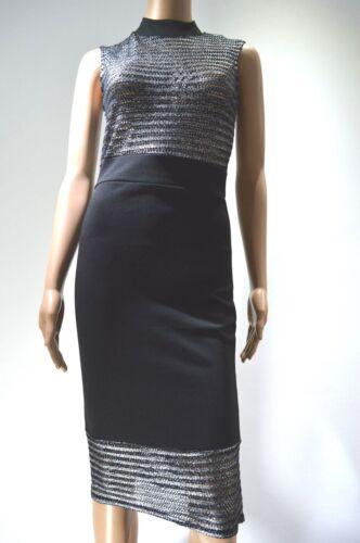 Black Silver Metallic Evita Striped Bodycon Evening Party Pencil Midi Dress £33