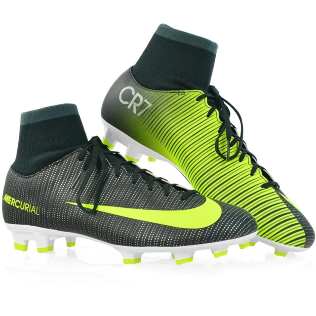 Junior Nike MercurialX victoire CR7 DF Silver Black Indoor Chaussures de Football
