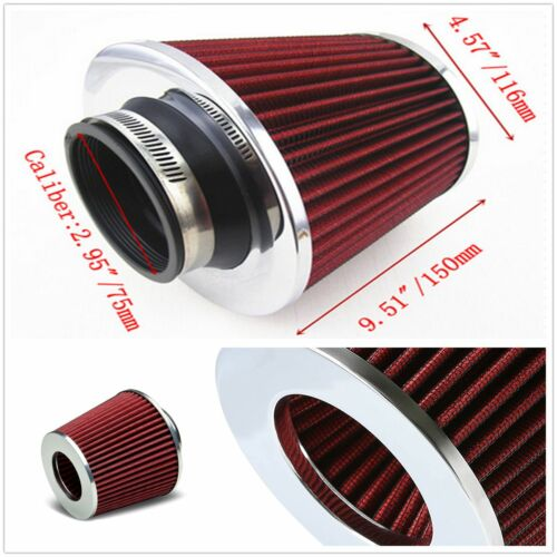 75 mm Car SUV Chrome Inlet Short Ram Cold Air Intake Round Cone Filter Red Types