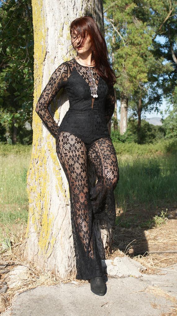 Tuta Intera women Nera Pizzo Acrilico Sexy Tg S M - L XL Boho Catsuit Jumpsuit