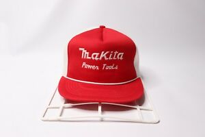 d152428a Vintage 80s Makita Power Tools Spell Out Roped Mesh Trucker Hat ...