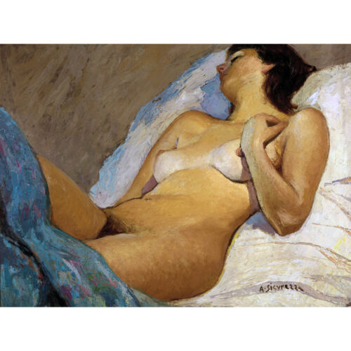 Sicurezza Nude Pose 1977 Painting Wall Art Canvas Print 18X24 In