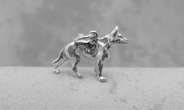 "Sterling Silver (925)  Solid 3D Charm ""German Shepherd"""
