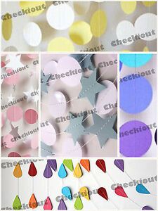 5x Paper Garland Wedding Baby Shower Party Home Decorations 10ft banner Supplies