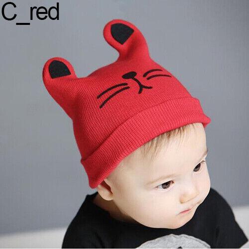Qu/_ BH/_ BG/_ Baby Toddler Girl Boy Rabbit Ear Cat Knit Earflap Beanie Hat Warm So