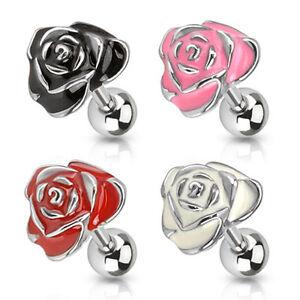 rosa-flor-Flor-Tragus-Oreja-Piercing-Helice-Enchufe-Blanco-Rosa-Pink-Negro-Rojo