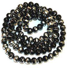 "G1772L Black Opaque 8mm Round Silver Swirl Metallic Drawbench Glass Beads 32"""