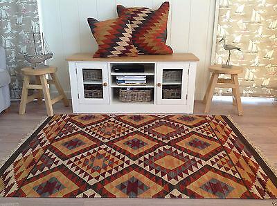 ❤️New Alwar Geometric Wool Cotton Kilim Rug 120cm x 180cm Orange Brown Weave