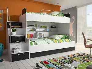 Etagenbett Doppelstockbett Günstig : Etagenbett doppelstockbett hochglanz weiss schwarz kinderbett