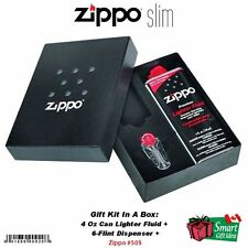 Zippo Gift Kit Box For Slim Lighter: 4 oz Fuel + 6-Flint Dispenser #50S