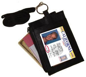 Black-Leather-ID-Badge-Holder-Neck-Strap-Card-Money-Key-Lanyard-Name-Tag-Wallet