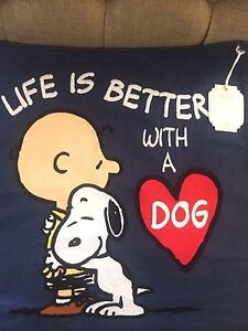 Nwt Pottery Barn Teen Peanuts Snoopy Life Is Better W A