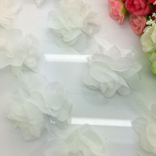 New 1 Yard White Flower Chiffon Wedding Dress Bridal Fabric Lace Trim