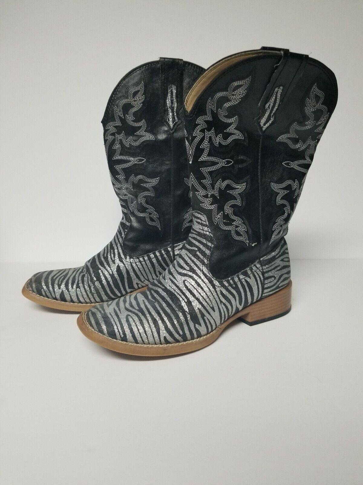 Roper Womens Size 6M Zebra Glitter Cowboy Square … - image 1