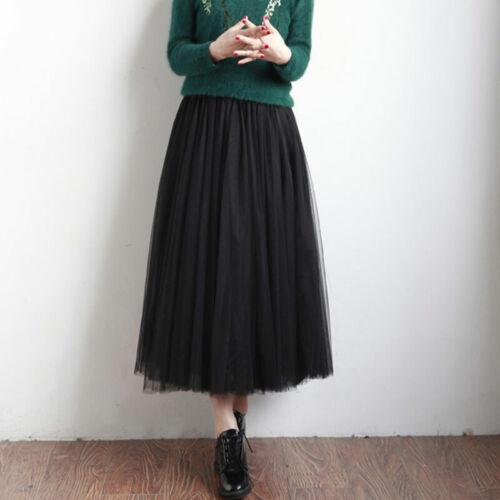 Damen 3 Schicht Tüllrock weichem Tutu Röcke Petticoat Langer Rockabilly Gotik DE