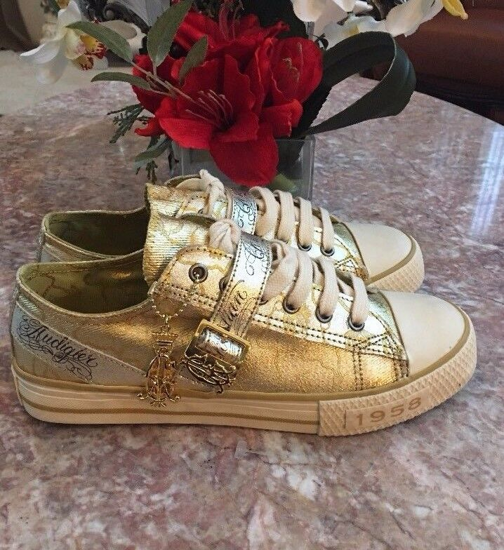 NEW Christian Audigier Shoes Gold Lo Ox Strap Grey Sneakers Size 8 /