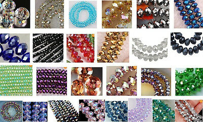 Wholesale 26 colors 3X4mm Multicolor Crystal Loose Beads 1000pc
