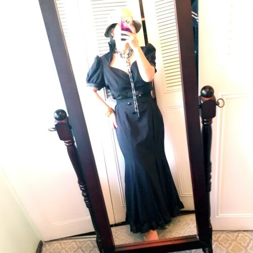 vintage black puff sleeve ruffle bottom maxi dress