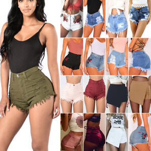 Women-039-s-Casual-High-Waisted-Short-Mini-Jeans-Denim-Slim-Beach-Shorts-Hot-Pants