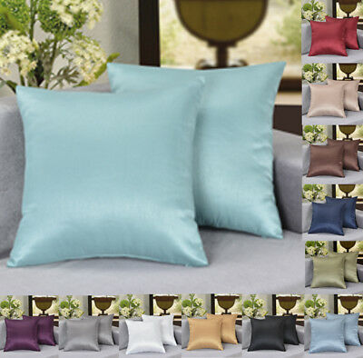 Pack Of 2 26 X26 Solid Faux Silk European Sham Pillow Cover Zipper Closure Ebay
