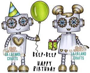 New La La Land Craft BIRTHDAY ROBOTS Cling Rubber Stamp Balloon Heart Party Hat