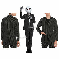 Xxx Rude Nbc Jack Skellington Costume Pin Striped Suit Blazer Jacket Black White
