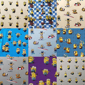jersey stoff digitaldruck baumwolle kinder minions grau lila blau gelb 0 5 m ebay. Black Bedroom Furniture Sets. Home Design Ideas