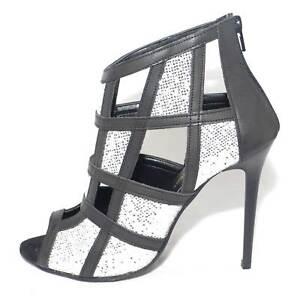 Glitter Quadrata In E Scacchi A Nero Scarpe Pelle Forma Tronchetto Donna Forato qPSx6wUF
