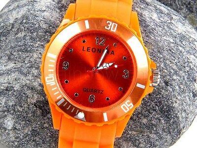 Neu+orange+neon+Siliconuhr+Damenuhr+Herrenuhr+unisex+Silicon+Uhr+Analog+Watch+
