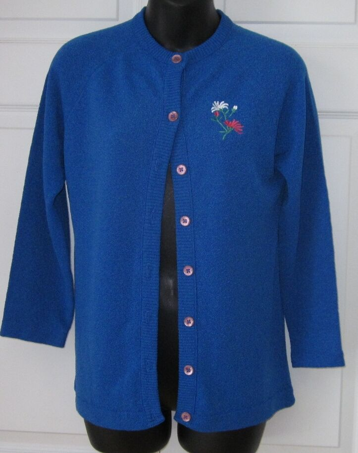 Vintage Talbots bluee Cardigan Knit Sweater Small S Ex Cond Cute Must C
