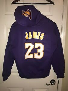 newest c1e6b a3e9c Details about LA Los Angeles Lakers Lebron James Away Jersey Hoodie Hoody  Hooded Sweatshirt