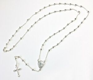 Sterling Silver Rosary Beads 925 Hallmark With Madonna Child